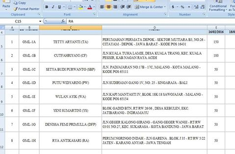 Contoh DataBase Pendataan Member OriginalMutiara