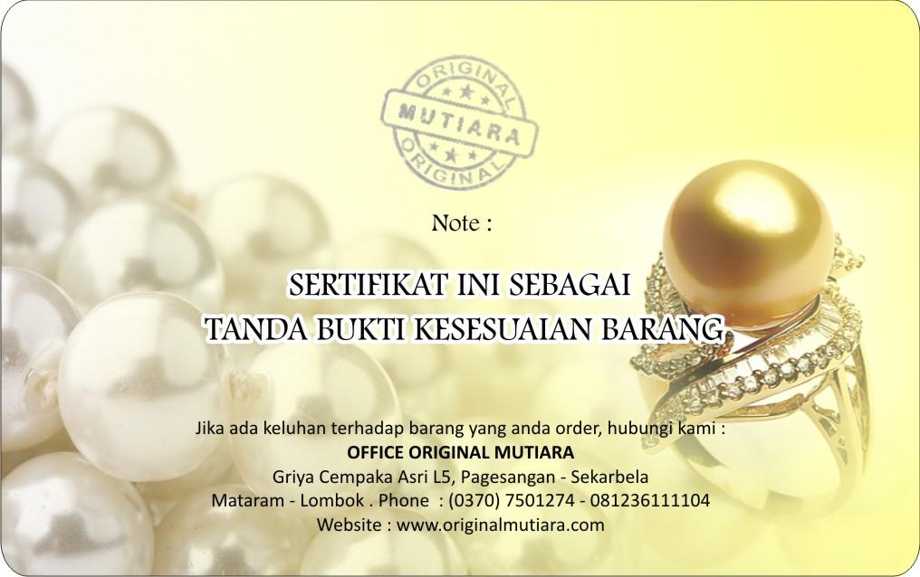 Sertifikat Keaslian Perhiasan Emas Dan Mutiara